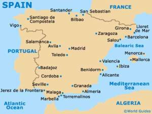 Map of Spain.  San Sebastian is in the North.